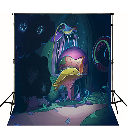 8 x 10 FT Halloween Background Photography Magic Mushroom Cartoon Photo Backdrops Digital Mysterious Forest Photographic Picture Prop]()