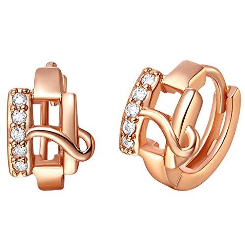 ylr plaqué or femmes bijoux Alphabet Lettre H circulaire Dangle Boucles d'oreilles zircon brillant–Boucles d'Oreilles Pendantes Femme –