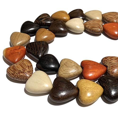 [ABCgems] Premier Wood Collection (Hand Carved from Exotic Hardwood) Precision-Cut 25mm Smooth Puffed Heart Beads for Jewelry Making