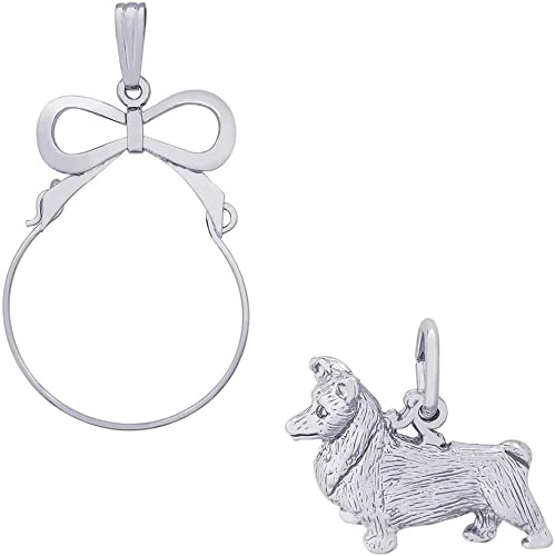 Box or Curb Chain Necklace Rembrandt Charms Sterling Silver Border Collie Charm on a 16 18 or 20 inch Rope