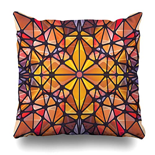 DIYCow Throw Pillow Cover Pillowcase Translucent Purple Window Abstract Triangle Pattern Looking Red Like Glass Mosaic Artistic Cathedral Home Decor Design Square Size 20