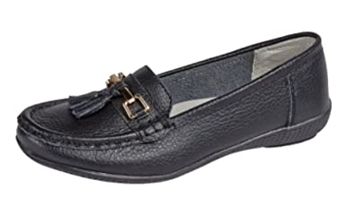6118062d4b301 Shoe Tree Comfort Leather Moccasins Slip On Ladies Loafers ...