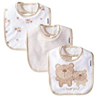 Gerber Unisex-Baby Newborn 3 Pack Terry Bib Bear, Brown, One Size