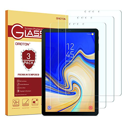 OMOTON[3 Pack] Screen Protector for Samsung Galaxy Tab S4 10.5 inch, Tempered Glass/High Definition/Bubble Free Screen Protector for Tab S4 10.5 inch (SM-T830 / SM-T837 / SM-T835) 2018 Released (Samsung Galaxy S4 Tempered Glass Screen Protector)