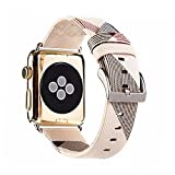 MeShow TCSHOW For Apple Watch Band Series 3 42mm,42mm Tartan Plaid Style Replacement Strap Wrist Band with Silver Metal Adapter for Apple Watch Series 3 2 1(Not fit for 38mm Apple Watch) (K)