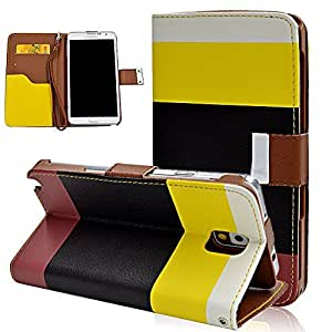 Seedan Multicolor Wallet Case for Samsung Galaxy Note 3 III - Flip Leather Stand Cover Skin Magnetic Clasp Card Holder Folio Pouch (Multicolor 4)