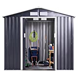 Tobbi Garden Storage Shed Galvanized Steel Outdoor Tool House 9 x 10 Ft Heavy Duty w/Floor Frame