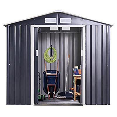 Tobbi Garden Storage Shed Galvanized Steel Outdoor Tool House 9 x 10 Ft Heavy Duty w/Floor Frame