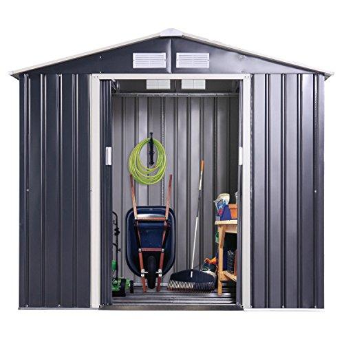 Frame 10ft Aluminum (Tobbi Garden Storage Shed Galvanized Steel Outdoor Tool House 9 x 10 Ft Heavy Duty w/Floor Frame)