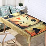 JIAAE European Classical Natural Linen Tablecloths 3D Digital Printing Cartoon Poker Table Cloth Home Decoration Fabric Bronze Cover Towel, 140220cm
