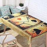 European Classical Natural Linen Tablecloths 3D Digital Printing Cartoon Poker Table Cloth Home Decoration Fabric Bronze Cover Towel, 140140cm