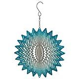 Sunnydaze Garden 3D Wind Spinner Outdoor with Hook, Whirligig Blue Star, 6 Inch