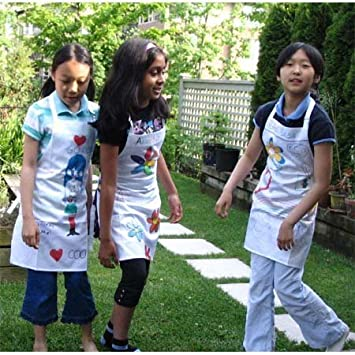 Pure Cotton White Bibs to Decorate Paint Play L: 8-14 Years, 3-pc Pack Twinklebelle Childrens Aprons for Cooking