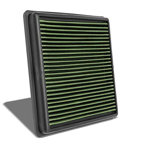 (Green High Flow Performance Cotton Gauze Washable/Reusable OE Style Drop-In Panel Replacement Air Filter withs with 06-15 Mitsubishi L200 Diesel Engine (Fits Non USDM Models)