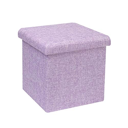 (B FSOBEIIALEO Storage Ottoman Cube, Linen Small Coffee Table, Foot Rest Stool Seat, Folding Toys Chest Collapsible for Kids Light Purple 11.8