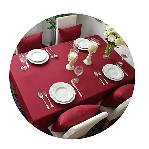 COOCOl Great Solid Tablecloths Table Cloth Cotton Red