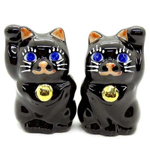 [해외]행운을 부르는 ♪ 좋은 징조 드려 손짓 랗 눈의 검은 고양이 양 (쌍) / # Kitcho Chibi Lucky cat blue Eyed Black Cat-chan (pair)