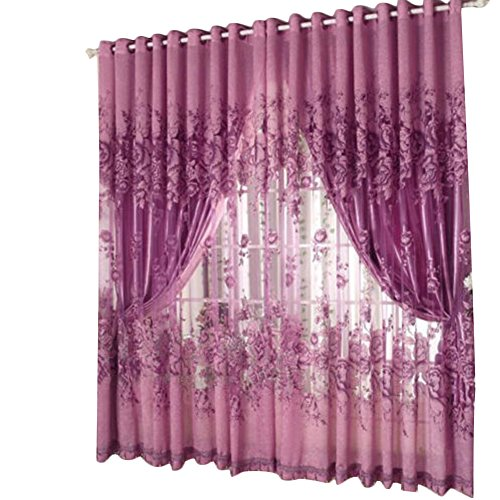 1Pc Floral Door Window Voile Tulle Valance Curtain (Coffee) - 9
