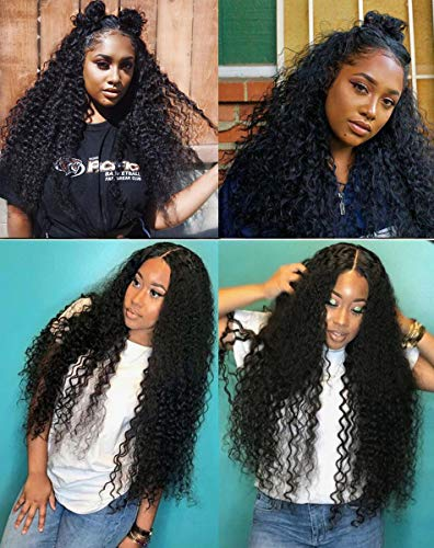(Curly Human Hair Full Lace Wigs 130% Density Brazilian Loose Deep Curly Wig for Black Women Natural Color 20 inch)