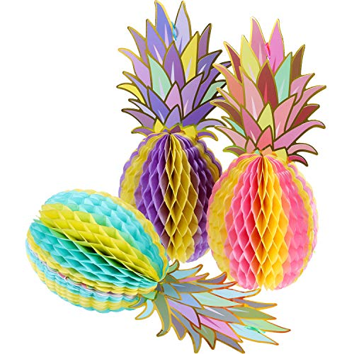 Hestya 6 Pieces Colorful Tissue Pineapple Honeycomb 12 Inch Paper Hawaii Fruit for Tropical Hawaiian Summer Theme Party Beach Decor Wedding Birthday -