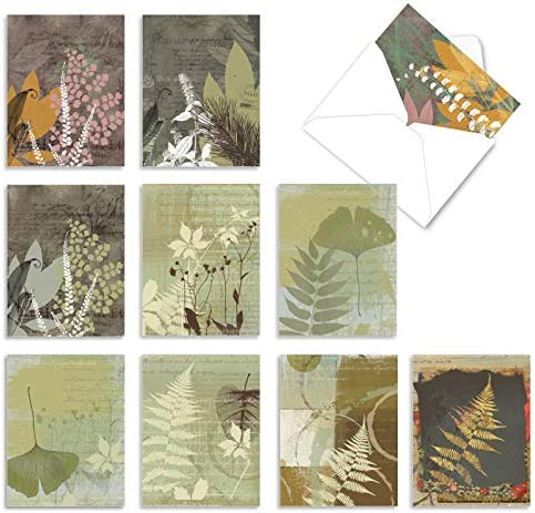 10 All Occasion 'Layered Leaves' Thank You Cards 4 x 5.12 inch, Assorted Greeting Cards with Envelopes, Stylish Leaf Print Collage Stationery for Weddings, Baby Showers, Thanksgiving M2985TYG