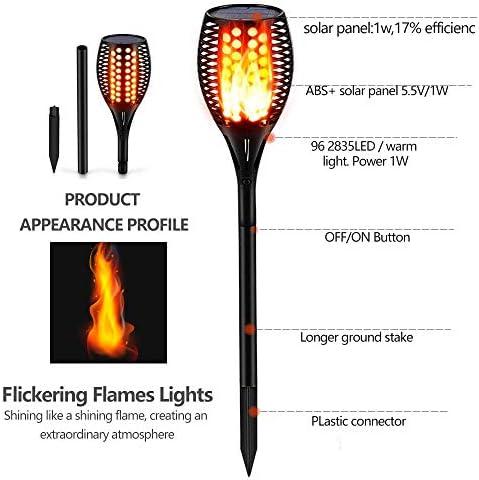 Solar Flammenlicht G/ärten Rasen Beleuchtung Solarleuchte LED Garten IP65 Wasserdicht Solarlampe Gartenfackeln mit Realistischen Flammen Automatische EIN//Aus Au/ßen Warmlicht f/ür Hinterh/öfe