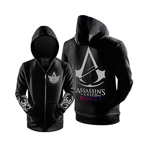 Magily Assassin's Creed Rogue Logo Zipper Hoody Unisex Cosplay Jacket Costume (Assassin's Creed Rogue Cosplay Costume)