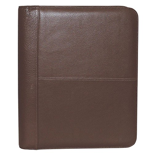 Leather Genuine Folio - Buxton Genuine Leather Zip-Around Portfolio, Brown