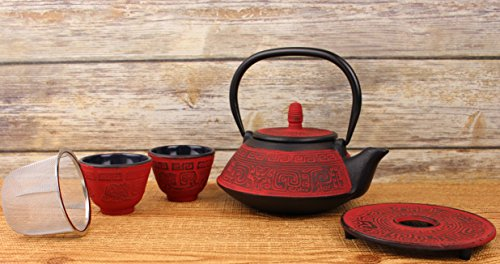 5 Pcs Japanese Cast Iron Tetsubin Tea Set ティーポット Antique 24 Fl Oz Dark Red Vintage Teapot + 2 Cups 1 Infuser 1 Trivet (Stand) Retro Fortune Design Packed in a nice gift box -