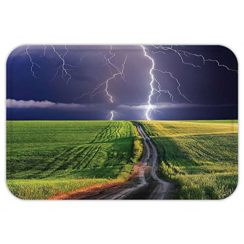Vroselv Custom Door Matlake House Decor Summer Storm About To Appear With Flash On The Field Solar Illumination Energy Decor Decor Green Blue