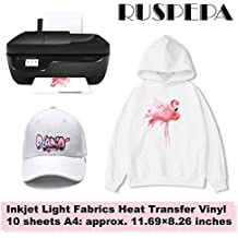 RUSPEPA 11.69 x 8.26 inches Inkjet Light Fabrics Heat Transfer Vinyl A4 Sheet Printable Iron-On Paper for T-shirts, Bag, Hats and Clothes, 10 Sheets