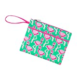Patterned 11 x 8.5 Polyester Lined Zipper Pouch Wristlet (Blank, Flamingle Zip)