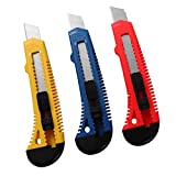 utility blade disposal - MANUFORE 18mm Snap Off Blades, Retractable Razor Box Cutter Knife(3 Pack)