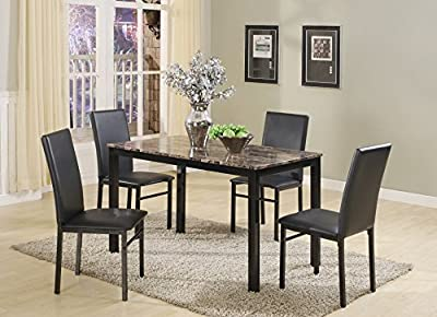 Roundhill Furniture D007WH 5 Piece Citico Metal Dinette Set with Laminated Faux Marble Top, White