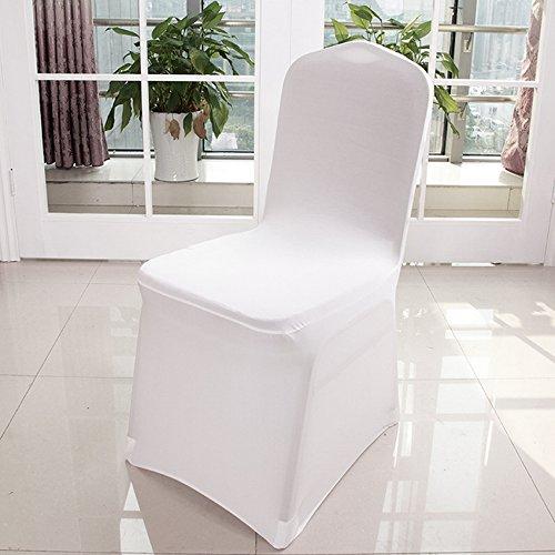 Universal 100pcs White Chair Covers Spandex Lycra Metal