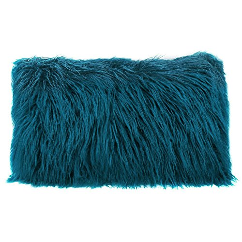 Ojia Deluxe Home Decorative Super Soft Plush Mongolian Faux Fur Throw Pillow Cover Cushion Case (12 x 20 Inch