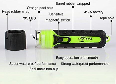 Three trees 3W Waterproof Underwater Shallow Flashlight Torch Lamps Brightness,100 Lumens LED Scuba Dive Waterproof Diving Flashlight Bright yellow BATTERY NOT INCLUDE