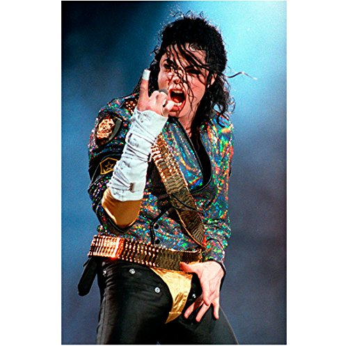 Michael Jackson 8 inch x 10 inch PHOTOGRAPH Singer Thriller Sparkling Multi-Colored Jacket Black Pants Smokey Background kn