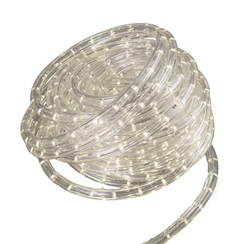 Shine Decor 12V Led Rope Light, 13mm Diameter, 50Ft, 36Led/M, Cuttable, Included All Necessary Accessories, Flex Durable Super Bright for Car, Ship, Boat, Wedding, Decoration, Indoor Or Outdoor Use
