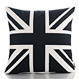 HT&PJ Decorative Super Soft Fabric Square Throw Pillow Case Cushion Cover Black and White Union Jack Design 18 x 18 Inches
