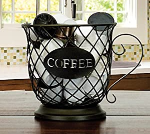 Cat Metal Basket/Coffee Mug Storage Basket by Boston Warehouse