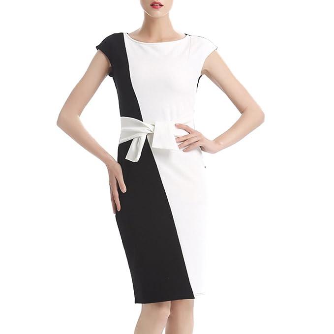 358b91e79e3b KAXIDY Donna Vestito Aderente Vestiti da Sera Corti Ragazze Vestito Tubino  Bianco Nero (Large)  Amazon.it  Abbigliamento