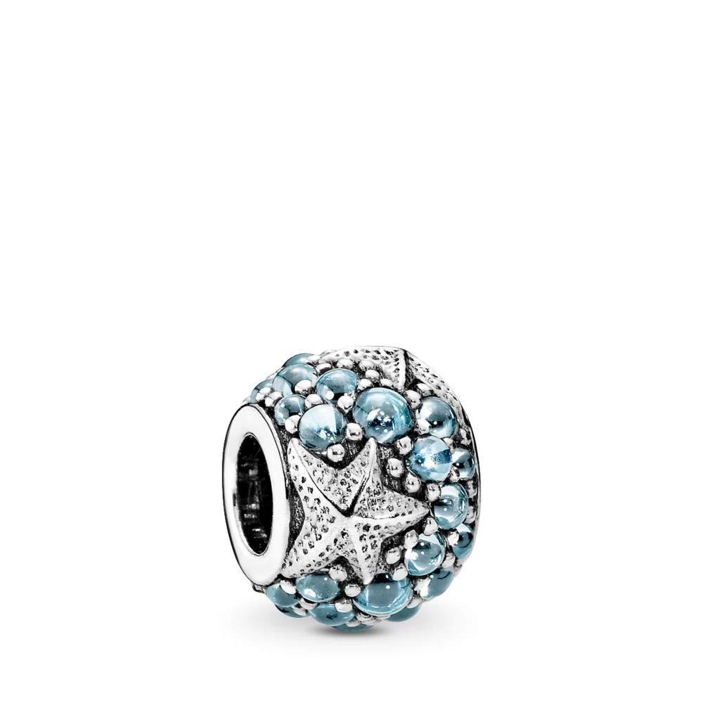 PANDORA Oceanic Starfish Charm, Sterling Silver, Frosty Mint Cubic Zirconia, One Size by PANDORA