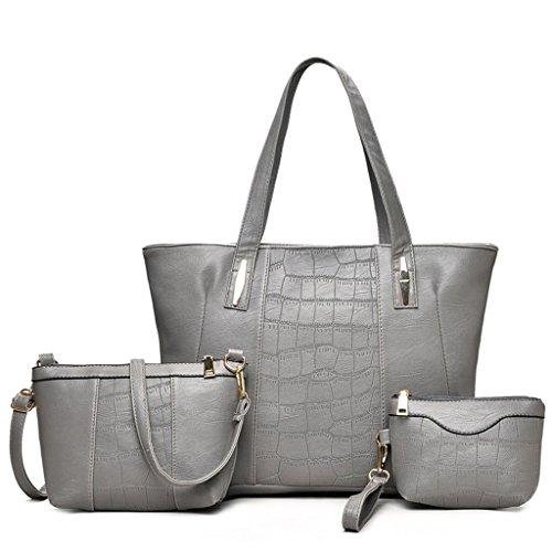 NVBAO Borsa femminile tre pezzi borsa a mano + borsa a tracolla + borsa piccola Una donna deve avere un prodotto, grey grey