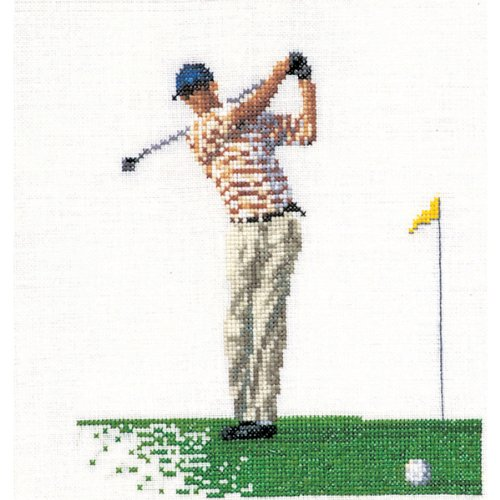 Thea Gouverneur Linen Counted Cross-Stitch Kit, Golf