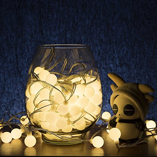 [LOENDE Globe String Lights with Timer, 50 LED 8 Modes Warm White Ball String Lights Starry Light Fairy Light for Christmas Tree, Wreath, Wedding, Bedroom, Holiday, Party Decor] (Garland Led Lights)