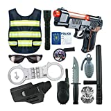 Tawcal Police Costume for Kids, Officer Role Play Kit Cosplay Toy Pretend Play Cop Policeman Dress up Uniform Playset Vest, Handcuffs, Badge for Children 4-6 Years Old 13 Pieces
