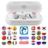DABAOZA Language Translator Device, iOS Bluetooth Earbuds Voice Translator - Support 20 Languages & 19 Accents, Smart Portable Instant Translator with APP Including Micro USB Charging Case - Black