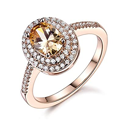 GULICX Jewelry Rose-Gold Base CZ Oval Rhinestone Royal Sparkles Ring for Women