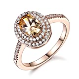 GULICX Jewelry Rose-Gold Base CZ Oval Rhinestone Royal Women Sparkles Ring